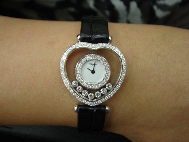台中 流當品拍賣 原裝 CHOPARD蕭邦 Happy Dioamonds 愛心快樂鑽 石英 女錶 9成5新