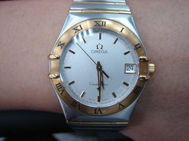 台中 流當品拍賣 美品 原裝 Omega 星座 半金 石英 男錶 9成5新