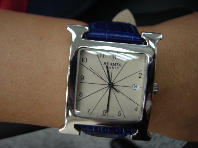 台中流當品拍賣 流當手錶 原裝 HERMES 愛馬仕 大H 不鏽鋼 石英錶 9成5新