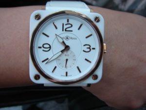 台中流當品拍賣 流當手錶 原裝 BELL & ROSS 柏萊士 陶瓷 18K玫瑰金 石英女錶 附盒單