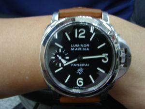 台中流當品拍賣 流當手錶 原裝 PANERAI 沛納海 PAM005 手上鍊 不銹鋼 男錶 9成5新 盒單齊