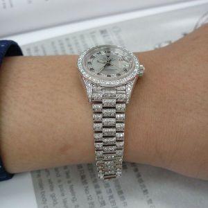 台中當舖流當品 原裝 勞力士 69156 MA PT950 純鉑金 鑽圈 鑽腳 女錶 盒單齊 9成9新 ZR461