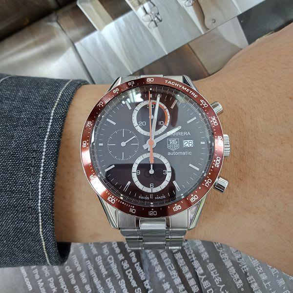 台中當鋪流當手錶拍賣 原裝 TAG Heuer 豪雅 CARRERA 計時 自動 男錶 9成5新 附盒 喜歡價可議KR003
